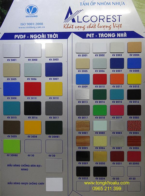 bảng màu alu alcorset